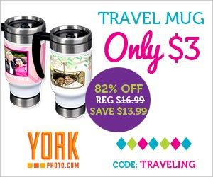 Order your Customized Travel Mug for $3 from York Photo plus get 40 Free Prints.