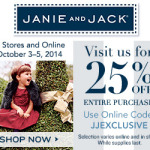 25% off your entire purchase at Janie and Jack with code